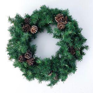 Christmas Green Pine Wreath Glitter Pinecones